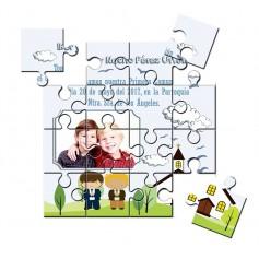 Recordatorio de comunion en puzzle gemelos o mellizos con foto
