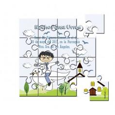 Recordatorio de comunion niño o niña en puzzle con dibujo
