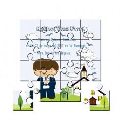 Recordatorio de comunion en puzzle con dibujo