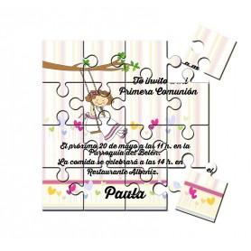 Invitacion de comunión niña en puzzle