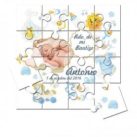 Recordatorio unisedx de Bautizo con foto en puzzle