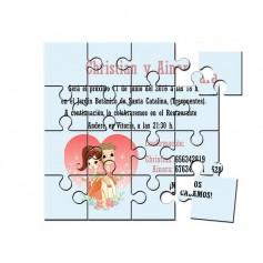 Invitacion de Boda con dibujo en puzzle