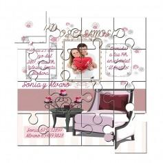 Invitación de Boda en puzzle con foto y texto