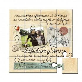 Invitacion de Boda en puzzle con foto, dibujos y texto