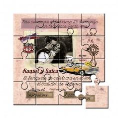 Invitación en puzzle de boda con foto
