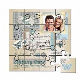 Invitación de boda en puzzle con foto