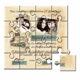 Invitacion de boda en puzzle con foto