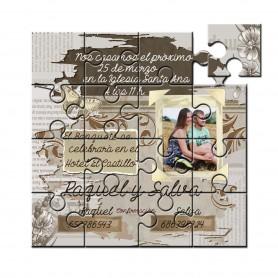Invitacion boda en puzzle papel rasgado