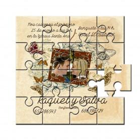 Invitacion boda en puzzle colgante