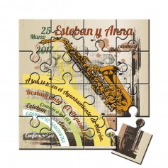 Invitacion boda en puzzle saxofon