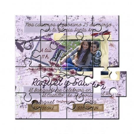 Invitacion boda en puzzle lila