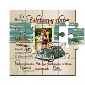 Invitacion boda en puzzle coche vintage