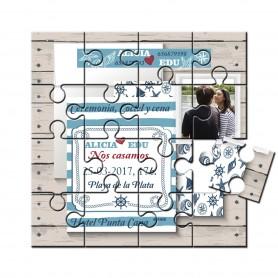 Invitacion boda en puzzle motivos marinos