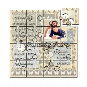 Invitacion boda en puzzle romatica azul