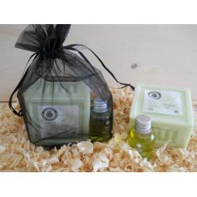 Jabón de aceite de oliva con champu en bolsa de organza