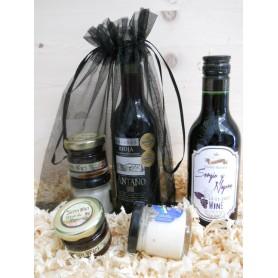 Pack Gourmet vino Tinto Rioja Crianza Antaño con 1 tarro queso y 1 tarro miel