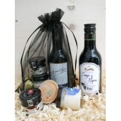 Pack Gourmet vino tinto Crianza Marqués de Carrión con 1 tarro de queso, 1 tarro de miel y 1 tarrina pate