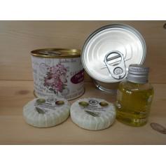Champú con 2 jabones de oliva en lata personalizada