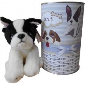 Perro peluche Buldog Frances de 22 cm en lata con abre fácil