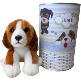Perro peluche Beagle de 22 cm en lata con abre fácil