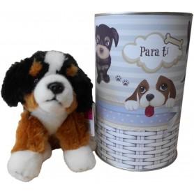 Perro peluche Bernese de 22 cm en lata con abre fácil