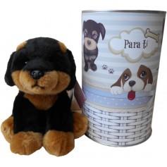 Perro peluche ROTTWEILER de 22 cm en lata con abre fácil
