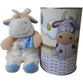 Vaca peluche con sonajero de 28 cm en lata con abre fácil