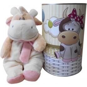 Vaca peluche para niño con sonajero de 28 cm en lata con abre fácil