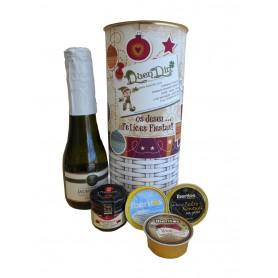 Lata personalizada para Navidad con abre fácil con productos gourmet