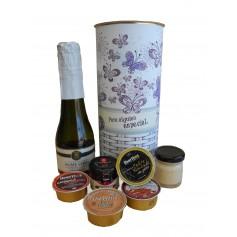 Lata personalizada con abre fácil con productos gourmet para regalo mujer