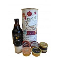 Lote de navidad con delicatessen y cerveza artesana en lata personalizada con abre fácil
