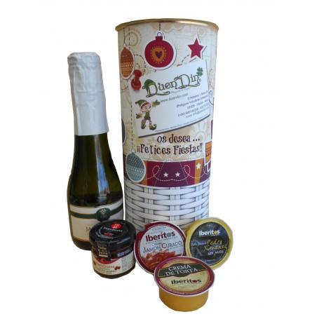 Lata personalizada para Navidad para regalo con productos gourmet