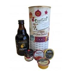 Lata personalizada para Navidad con abre fácil con productos gourmet para regalo