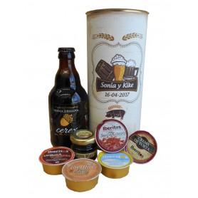 Lata personalizada para detalles de invitados con abre fácil con productos gourmet