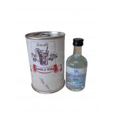 Botellin miniatura Ginebra GIN SK BLUE en lata personalizada con abre fácil