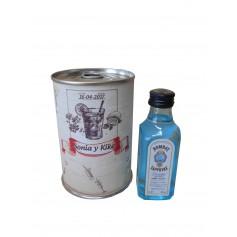 Botellin miniatura Ginebra Bombay Sapphire en lata personalizada
