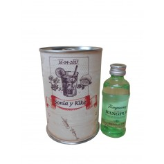 Botellin miniatura Ginebra Tanqueray Rangpur en lata personalizada