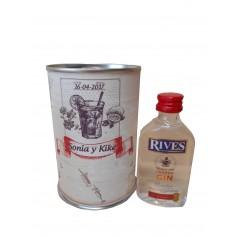 Botellin miniatura Ginebra Rivers en lata personalizada