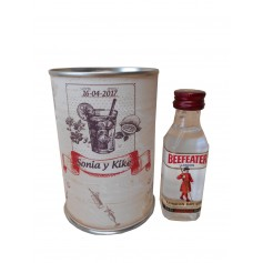 Botellin miniatura Ginebra Beefeater en lata personalizada