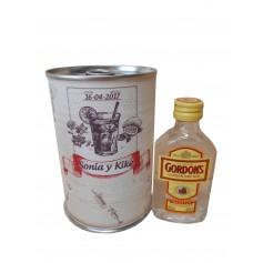 Botellin miniatura Ginebra Gordon´s en lata personalizada