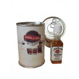 Botellin miniatura Whisky Jim Beam en lata personalizada