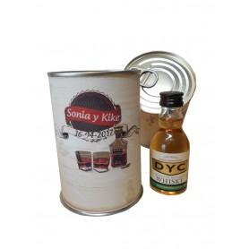 Botellin miniatura Whisky DYC en lata personalizada
