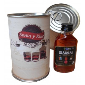 Botellin miniatura Pacharan Basarana en lata personalizada