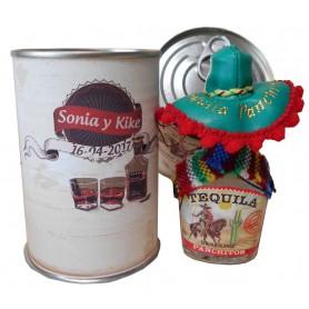 Botellin miniatura Tequila Panchito en lata personalizada