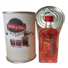 Botellin miniatura Licor Wtermelon en lata personalizada