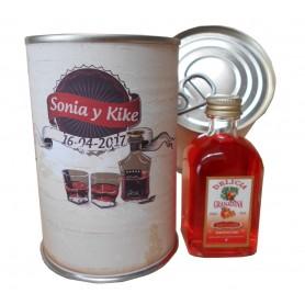 Botellin miniatura Licor Delicia de Granadina en lata personalizada