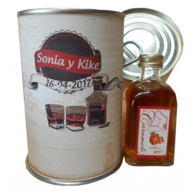 Botellin miniatura Licor La Colmena Caramelo en lata personalizada