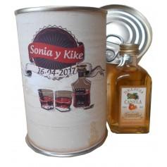 Botellin miniatura Licor La Colmena Canela en lata personalizada