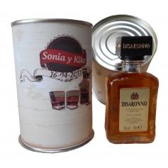 Botellin miniatura Licor Disaronno de almendra en lata