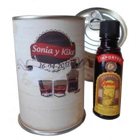 Botellin miniatura Licor Khalua en lata personalizada